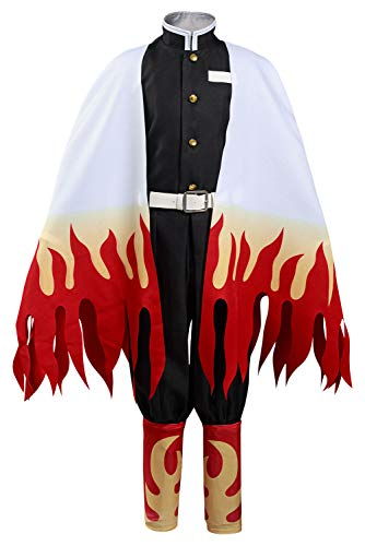 Kids Rengoku Kyoujurou Cosplay Costume Outfit Demon Slayer Halloween Kimono Cloak