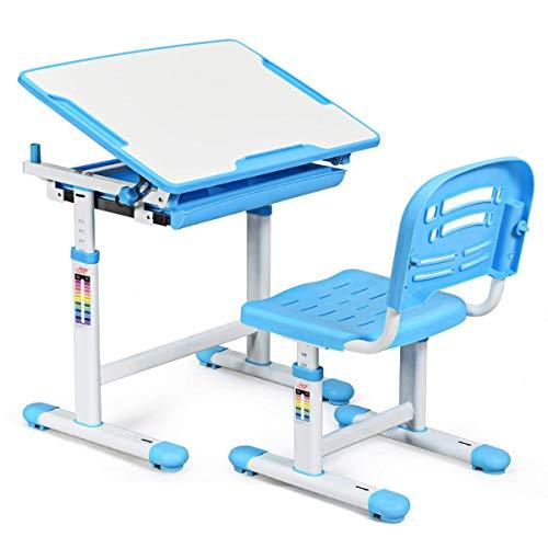 COSTWAY Escritorio para Niños con Silla Mesa de Lectura para Infantil con Cajón Ángulo y Altura Ajustable (Azul) ✅
