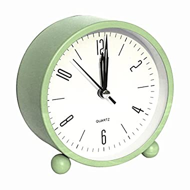 Bidason Alarm clock, Cube Office Desk Clock, No Ticking Noise Modern Cool Alarm Clocks for Bedrooms with Night Light, Battery Operated Travel Clock, Easy to set, Ideal Gift for Kids (Light Green)