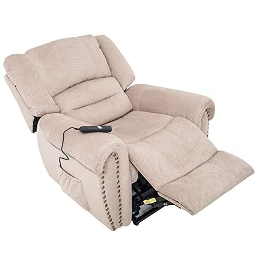 Z-COLOR Sillón reclinable de elevación eléctrica de servicio pesado, sofá de ocio, asiento de cuero artificial para el hogar, dormitorio manual y silla de sala de estar con sofá reclinable, adecuado p