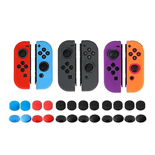 Schutzhülle für Nintendo Switch Joy-Con-Controller mit Daumenkappen, rutschfeste Androxeda 3er-Packung mit Silikongriffen und 24 Daumen-Stick-Pads - Schwarz/Blau/Rot/Purplea und Orange