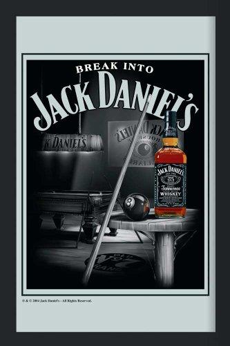 empireposter Jack Daniels Whiskey Billiard - Bedruckter Spiegel mit Kunststoff Rahmen in Holzoptik, Kult-Spiegel - Grösse 20x30 cm