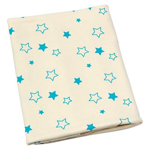 ByBoom® - BIO Couverture bébé, couverture câlin, couverture premier-né, couverture d'été, 70x100 cm, 100% COTON BIO, Colour:Naturel - Étoile Aqua