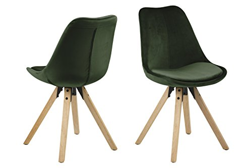 Eine Marke von Amazon - Movian Arendsee - Set aus 2 Esszimmerstühlen, 55 x 48,5 x 85 cm, Waldgrüner Stoff, eichenfarben gebeizte, ölbehandelte Beine aus Kautschukholz