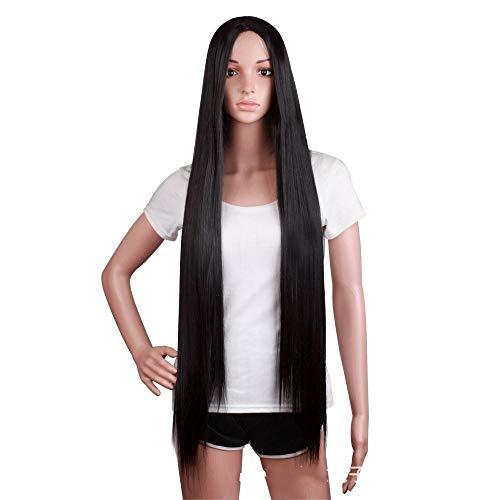 Longs cheveux noirs raides, 100cm, cheveux artificiels, fibre chimique haute température, utilisés pour le quotidien des femmes