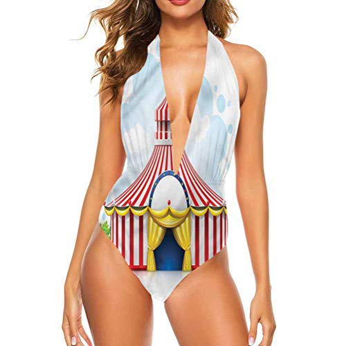 Adorise Mid Waisted Bikini Set Circus, Striped Tent with Flag Cute Confy and Sexy