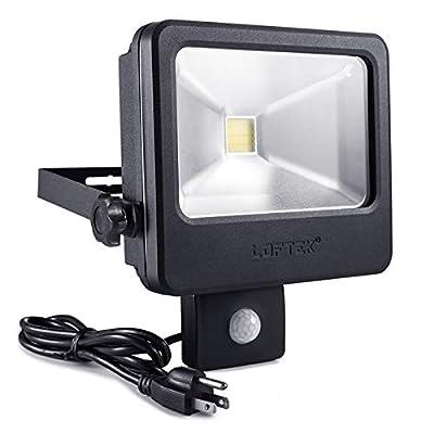 LOFTEK 30W LED Security Light with Motion Sensor, IP66 Full Metal Body Dusk to Dawn Floodlight, Automatic Sensor 3 Lighting Modes, 5000K, 250W Incandescent Equiv Outdoor Light, Black