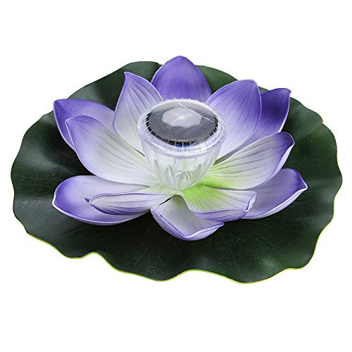 Lixada 0.1W Solar Powered Multi-Colored LED Lotus Flower Lamp RGB Water Resistant Outdoor Floating Pond Night Light Auto On/Off for Garden Pool Party Ideal Gift (Purple)
