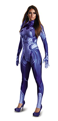 Disguise Women's Halo Cortana Adult Bodysuit Costume, Blue, Large