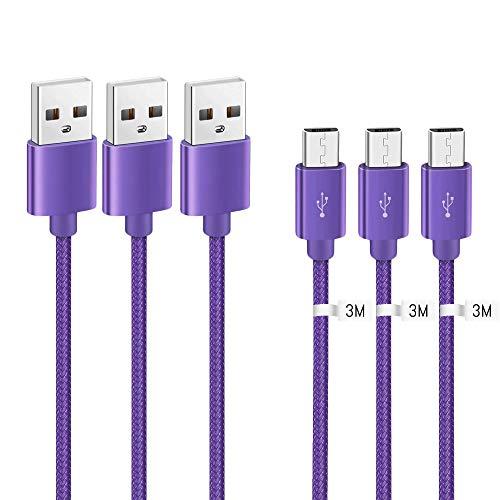 Kit Me Out Kabel Micro USB [3M 3 Stuks] Compatibele met Samsung Galaxy A8, 3 Meter [3.1A Snel Opladen] In Sterk Gevlochten Nylon Snel Opladen & Synchronisatiekabel Datakabel Kabel (Paars)