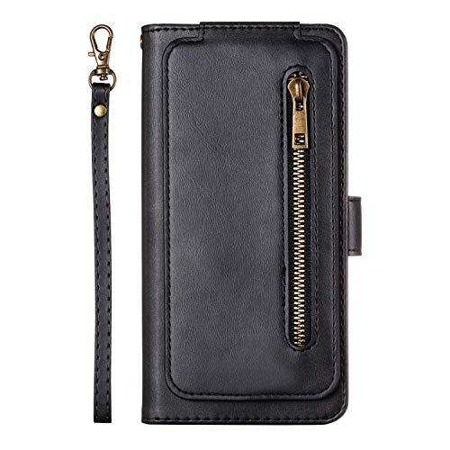 Uposao Kompatibel mit Samsung Galaxy S7 Hülle Reißverschluss Leder Flip Schutzhülle 9 Kartenfächer Handyhülle Multifunktionale Brieftasche Geldbörse Handytasche Magnetverschluss,Schwarz