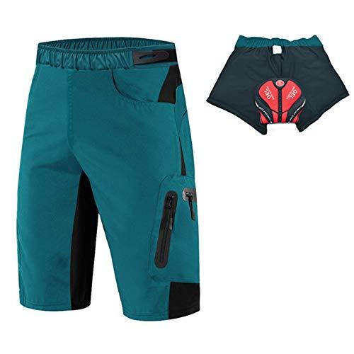 Culotte Ciclismo Hombre,3D Acolchado Transpirable Cómodo Pantalon Corto Montaña Hombre,Culotes Ciclismo Hombre, para Correr Deportes al Aire Libre Pantalon Mountain Bike(Size:XXL,Color:Azul)