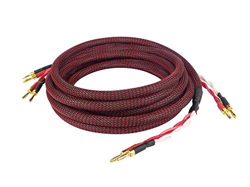 Dynavox Perfect Sound Lautsprecherkabel, Paar, Flexibles High-End Lautspecher-Kabel mit hochwertigen Bananensteckern, konfektioniert, Farbe schwarz/rot, Länge 3 m