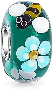 Bling Jewelry Teal Plata Cristal De Murano Lampwork Flor Abeja 925 Core Abalorio Separador El Encanto Parapulsera Europea para Mujer