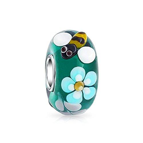 Bling Jewelry Teal Plata Cristal De Murano Lampwork Flor Abeja 925 Core...
