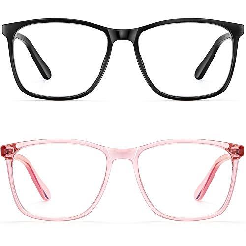 Blue Light Blocking Glasses Women/Men, PengSer Fashion Lightweight Frame Computer Eye Glasses Anti Eyestrain & UV Glare for Gaming & Reading, 2-Pack (Black & Pink)