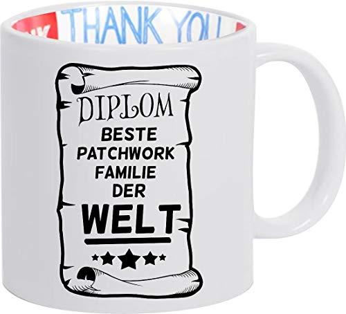 Shirtinstyle Taza de Café Taza de Café Diplom Mejor Patchwork Familia el Mundo - Thank You Taza