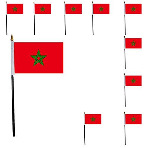 Sonia Originelli 10er Set Mini Flaggen WM Fußball 10x15 cm Party Anfeuern Fahnen Farbe Marokko