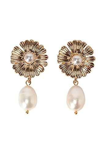 HALLHUBER Ohrringe mit echter Süßwasserperle gold, One Size