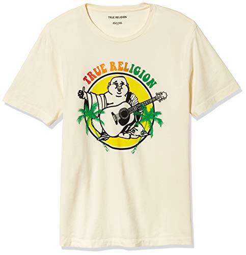 True Religion Men's Buddha Logo Graphic Short Sleeve Crewneck Tee, Cream, Medium