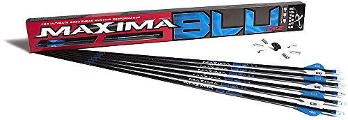 Carbon Express Maxima BLU RZ Fletched Carbon Arrows with RED Zone Technology and Blazer Vanes, 250 Spine, 6-Pack