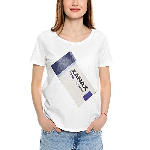 Mush Dressyourstyle - Camiseta divertida de mujer Xanax con diseño de Alianza Medicina Alpazolam - Camiseta Social - Manga corta 100% algodón orgánico, color blanco blanco XS