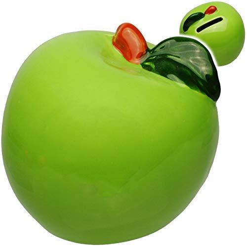 alles-meine.de GmbH 2 Stück _ Spardosen - grüner Apfel - stabile Sparbüchsen - aus Porzellan / Keramik - mit Verschluss - Sparschweine - für Kinder & Erwachsene / lustig witzig -..