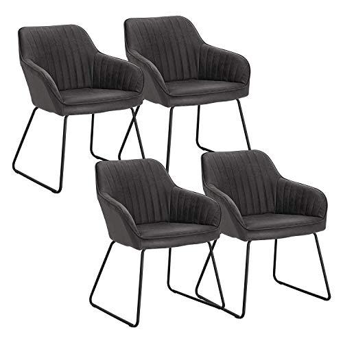 WOLTU Esszimmerstühle BH140gr-4 4er Set Küchenstühle Wohnzimmerstuhl Polsterstuhl Design Stuhl mit Armlehne Gestell aus Metall Kunstleder Antiklederoptik Grau