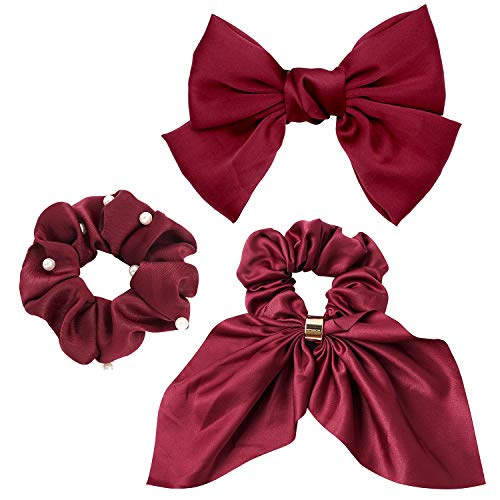 Bow Hair Clips Barrettes Big Satin Pearl Scrunchies Giant Satin Silk Ribbon Bow Scrunchy Bunny Ear for Women Girls Valentines Decor Accessories Solid Colors Hair Elastic Ties Bands Ponytail Holder Bobbles Thick Hair Gift Wine Red Large Set