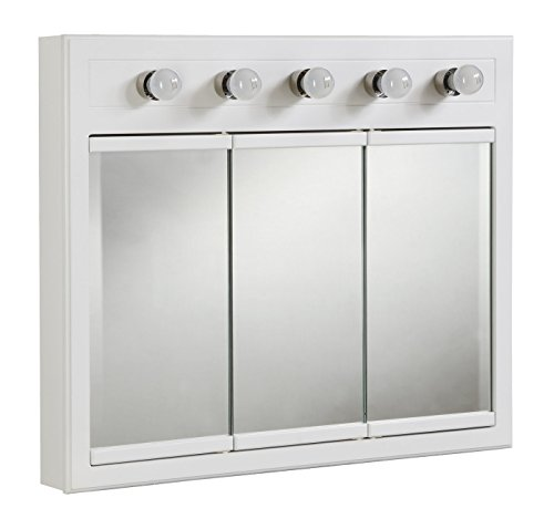 Design House 532390 Concord Lighted Tri-View Mirrored Medicine Cabinet, White, 36'