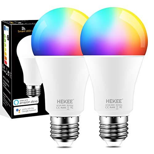 Ampoule Intelligente WiFi, 90W Équivalent, Couleur Changement Led E27 RGB Ampoule, Compatible Avec Alexa, Google Home, Blanche Chaude 2700K (Lot de 2)