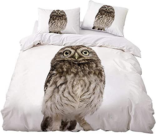 Proxiceen Juego de ropa de cama 3D con diseño de búho, 3 piezas, con cremallera, microfibra, funda...