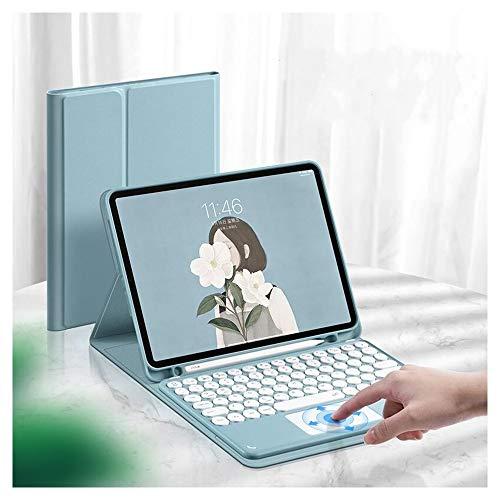 iPad 第8世代 10.2インチ iPad 8 iPad 7 キーボード iPad 10.2 ケース タッチパッド搭載 可愛い 丸型キー iPad8 iPad7 アイパッド8 アイパッド7 キーボード付き カバー マウス機能 ペンホルダー付き Apple Pencil 収納 (iPad8/iPad7(10.2インチ), ブルー)
