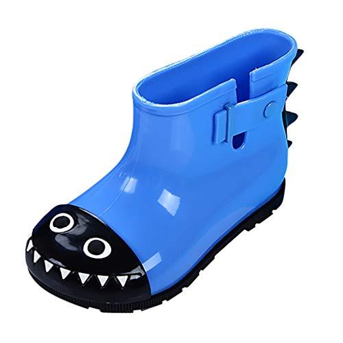 HDUFGJ Unisex-Kinder Süß Cartoon rutschfest Gummistiefel Schuhe Baumwollschuhe Stiefeletten Chelsea Boots Winterstiefel Reißverschluss Hoher Absatz Worker Boots28 EU(Blau)
