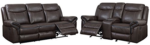 HOMES: Inside + Out Sienna Transitional 2-Piece Leather Sofa Recliner Set