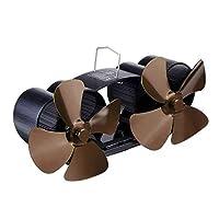 暖炉ファン8ブレードツインヘッド暖炉ファン薪ストーブファン薪/ログバーナー/暖炉用 (Size:One Size; Color:Brown)