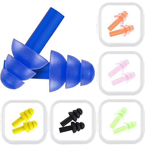 Bememo 6 Pairs Kids Ear Plugs Noise Cancelling Reusable Earplugs for Sleeping and Swimming, 6 Assorted Colors
