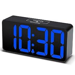 DreamSky Compact Digital Alarm Clock with USB Port for Charging, 0-100% Adjustable Brightness Dimmer, Blue Bold Digit Display, Adjustable Alarm Volume, 12/24Hr, Snooze, Bedroom Desk Alarm Clock.