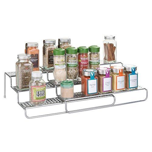 mDesign especiero extensible - Estante para especias idóneo como organizador de condimentos o salsas - De metal con acabado en plata
