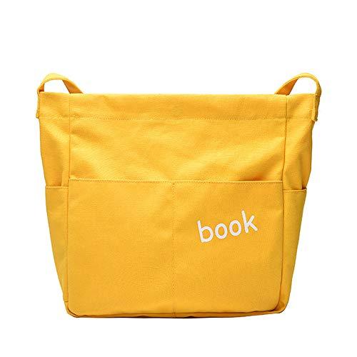 KDYSMWD Ladies Canvas Belt Imprimé Letter Bag Pure White Yellow Dumpling Crossbody Bag Shoulder Bag