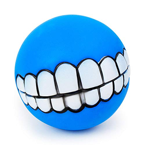 GGGJJJ Show Funny Pet Dogs Teeth Pattern Balls Chew Toy Squeaker Squeaky Sound Bite Resistant Dogs Training Toys Color -Blue