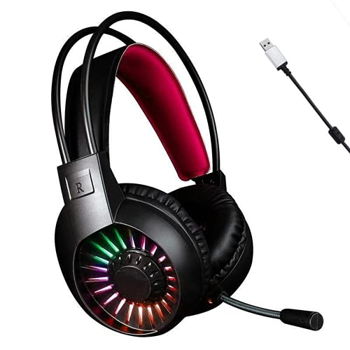 Gaming Headphone V1000 Headset with Deep Bass Game Headphones with Microphone for Laptop Gamer 7.1 USB Channel Surround Sound (Single USB,Red)