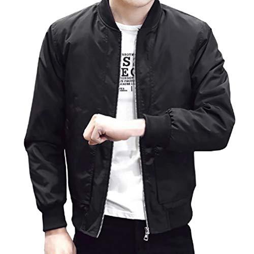 sweetnice man clothing Lightweight Bomber Jacket for Men Casual Slim Fit Windbreaker Zip Sportswear Outerwear Coat (M, Black)