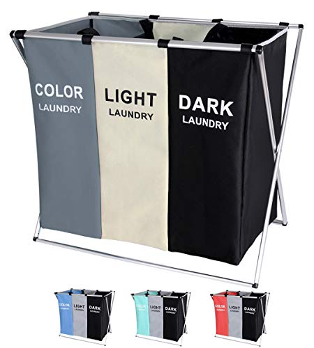 135L Laundry Cloth Hamper Sorter Basket Bin Foldable 3 Sections with Aluminum Frame 62cm × 37cm x 58cm Washing Storage Dirty Clothes Bag for Bathroom Bedroom Home (White+Grey+Black)