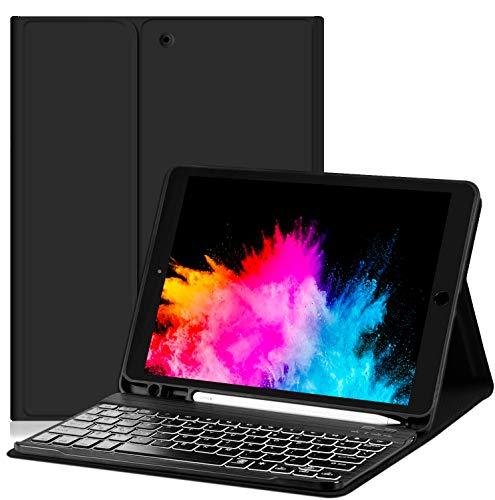 Capa Novo iPad 7a e 8a Geração 10.2″ WB com Teclado e Compart. para Pencil Preta