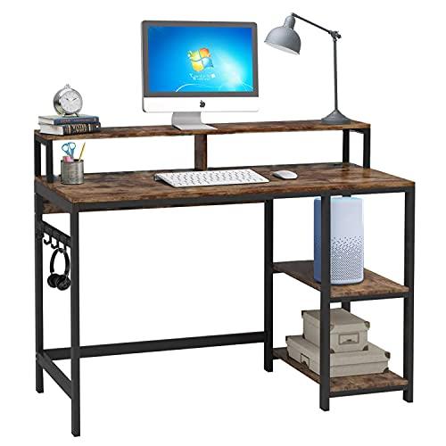 Dripex Scrivania per Computer, Scrittoio con 2 Ripiani, Tavolo da Studio con 4 Ganci, Supporto per monitor, Tavolo da Lavoro, per PC, Laptop, Marrone Vintage e Nero
