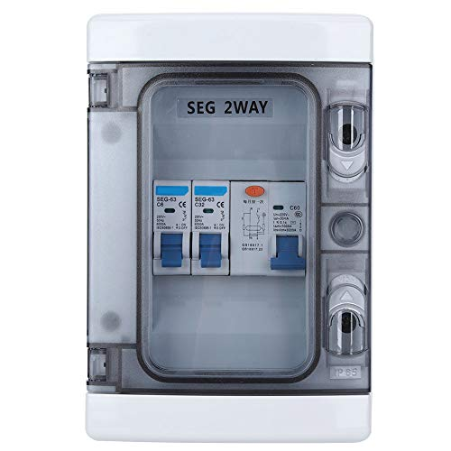 Miniature Circuit Breaker Protection with Waterproof Leakage Switch 40A 30mA RCD +2MCB (6A+32A), IP65 Protective Shell, EU Style