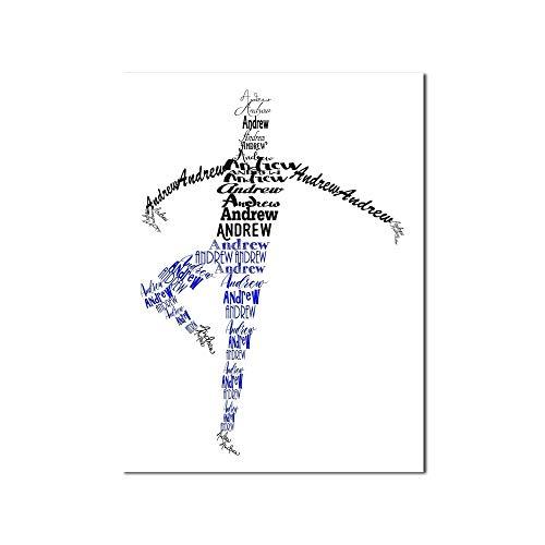 Male Ballerina Name Art, Male Ballet Dancer Gift, Dance Art, 8x10, 11x14, 12x16, or 18x24 Print Framed or Canvas