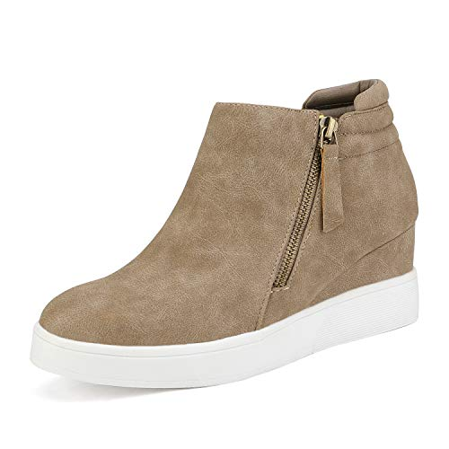 DREAM PAIRS Women's Taupe Casual Platform Wedge Sneaker Booties Size 8 M US Wedge-Snkr-2