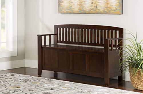 "Product Image 10: Linon Home Dcor Linon Home Decor Cynthia Storage Bench, 50""w x 17.25″d x 32″h, Walnut"